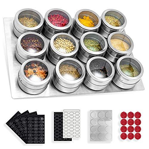 Gewürzdosen, 12 Stück Magnetisch Edelstahl Gewürzgläser Set, Rund Gewürzstreuer, Gewürzbehälter, für Spice Kräuter Gewürze, magnetisch auf Kühlschrank und Grill, 168 Gewürzetiketten