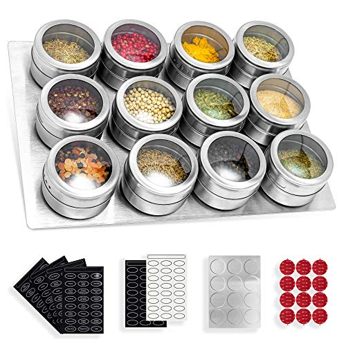 12 Magnetic Spice Tins With Stainless Steel Base, Small Herb Tins Container...