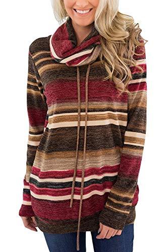 Suéter de otoño para Mujer Camiseta de Manga Larga a Rayas con Cuello de Pila Suelta