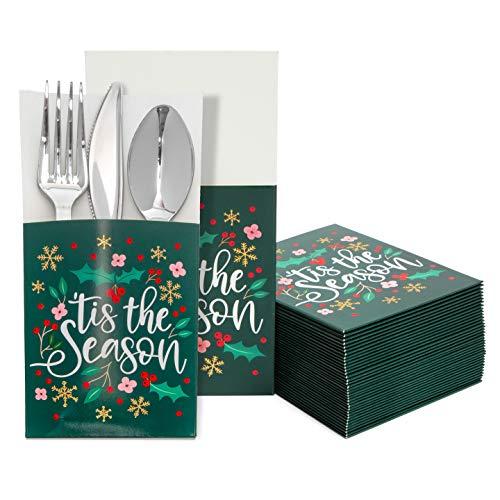 Christmas Utensil Holder Pockets for Holiday Dinner Parties (3.7 x 7.5 In, 36 Pack)