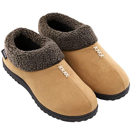 GUALA Herren Pantoffeln Winter-Hallenschuhe Cozy Memory Foam Hausschuhe Hausschuhe Indoor Outdoor Anti-Skid Schläppchen,D,46