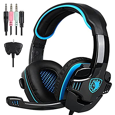 Yanni New SADES SA708GT 3.5mm Wired Stereo Gaming Headset Headband Headphones with Microphone Volume Control for PC Mac Laptop PS4 iPad Phones(Black Blue)