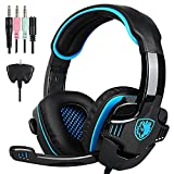 PS4 Gaming Kopfhörer, SADES SA708GT 3.5mm Wired headset Stereo Gaming Headphones with Microphone Volume Control for PC Mac Laptop PS4 iPad Phones(Black Blue)