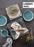 MÄSER 931448 Serie Derby, Premium Geschirr-Set mit eckigen Tellern für 4 Personen in Gastronomie-Qualität, 16-teiliges modernes Kombi-Service in bunten Pastellfarben, Durable Porzellan - 3