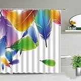 XCBN Cortinas de Ducha con patrón de Plumas de Arte Colorido, Juego de Cortina de Tela Impermeable para el baño en casa, decoración de bañera, Pantallas de baño A18 150x200cm