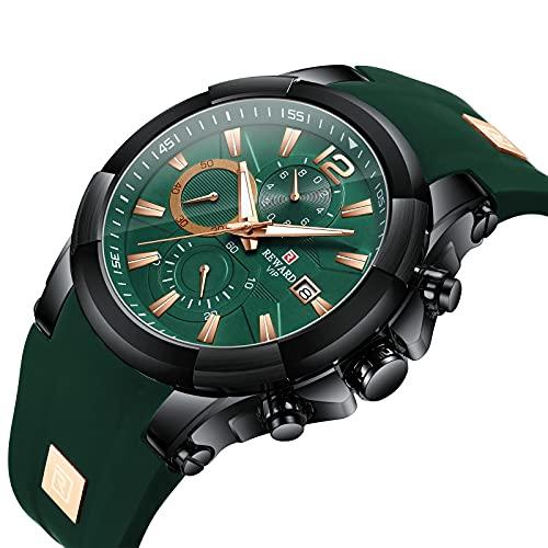 ZFAYFMA Reloj de pulsera para hombre, impermeable, de cuarzo, calendario, multifunción, cronógrafo con correa de silicona de tres ojos, reloj de mano de negocios, color verde
