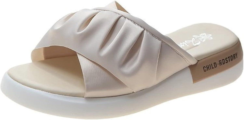 Slide Sandals for Womens Platform Comfy Fashion Ruffle Crossover Straps Peep Toe Slip on Soft Outsole Slides