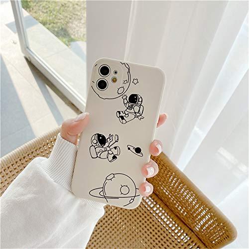 Hadwii Carcasa para iPhone 12 Pro, con patrón lateral de silicona líquida, color blanco, ultrafina, creativa, con dibujos animados, TPU suave, resistente a los golpes, para iPhone 12 Pro, astronauta