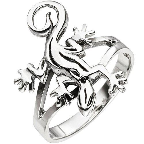 JOBO Damen Ring Gecko Echse Eidechse 925 Sterling Silber Silberring Größe 56
