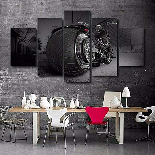 HFDSA Print Painting Canvas, 5 Pieces Big Wheel Sport Motorbike Canvas Wall Art Painting For Home Living Room Office Mordern Decoration Gift