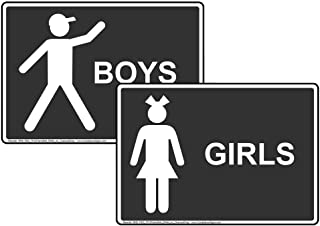 Girls Boys Restroom Sign Set, 7x5 inch Charcoal Gray Plastic for Public Bathrooms by ComplianceSigns