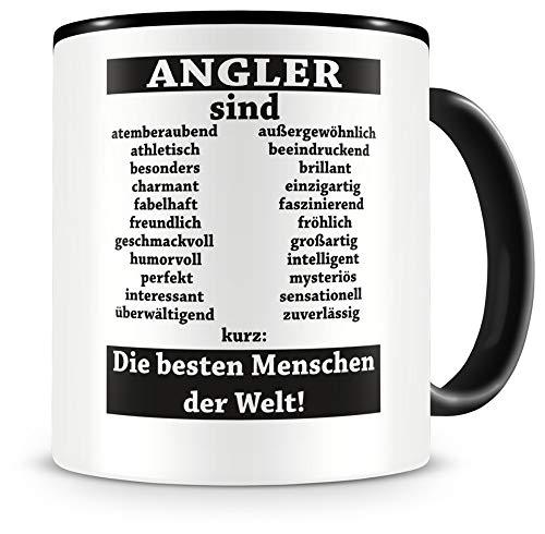 Samunshi® Angler sind Tasse Beruf Geschenk Kaffeetasse Teetasse Kaffeepott Kaffeebecher Becher (Angler sind. 300ml schwarz/schwarz)