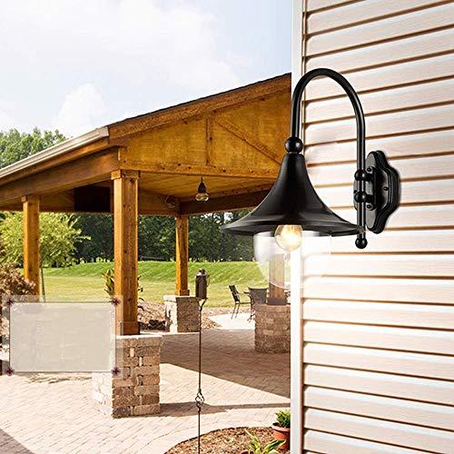 Wandlantaarn, wandlamp van kristalglas, wandlamp van gegoten aluminium, regenbestendig, voor buitenverlichting, IP44, luidspreker E27, sokkel voor binnenplaats