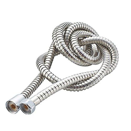 SANTRAS/® Metall Duschschlauch PREMIUM Chrom//Edelstahloptik 80 cm mit Durchflussbegrenzer Besonders flexibler Brauseschlauch aus Edelstahl