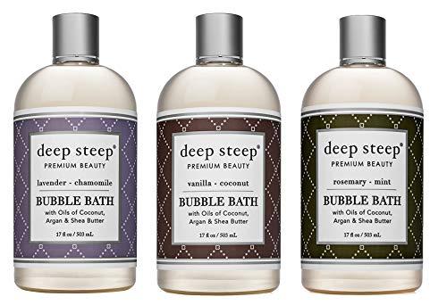 Deep Steep Bubble Bath Bundle Pack: 1 Each: Lavender Chamomile, Vanilla Coconut, Rosemary Mint, 17 Ounce