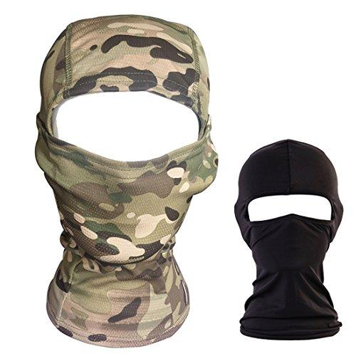 QHIU Tattico Balaclava Camouflage Ninja Hood Quick-Drying Estate Elastico Mask Pieno Facciale Protettiva Maschera Sport all'Aria Aperta Esercito Ciclismo Paintball Airsoft [2 Confezione]