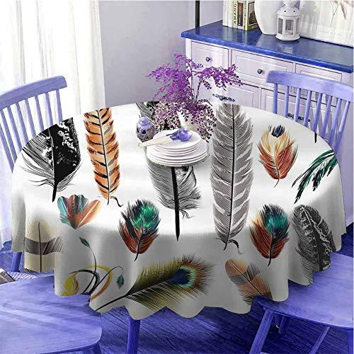 Juego de manteles redondos bohemios para fiestas, grandes y pequeños, varias plumas de pájaros en colores vibrantes, diseño bohemio, decorado, diámetro de 99 cm, multicolor