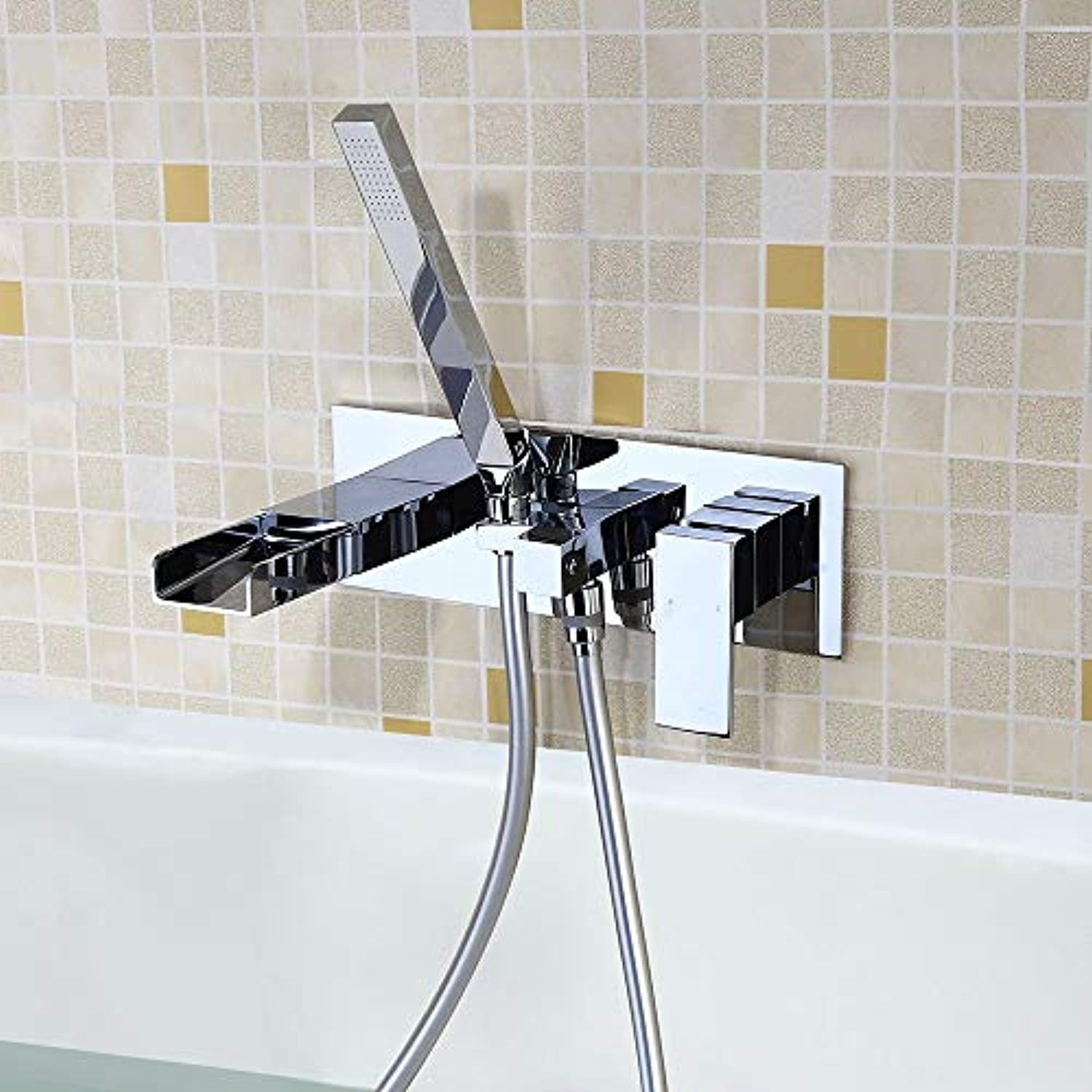 TAP Wasserfall Square Wall Mounted Bath Handheld Solid Brass Chrome
