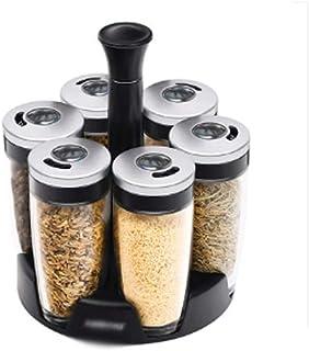 WZHZJ Set Bouteilles en Verre Distributeur Spice Professional Poivre Assaisonnement Pot Rack Rotatif Organisateur