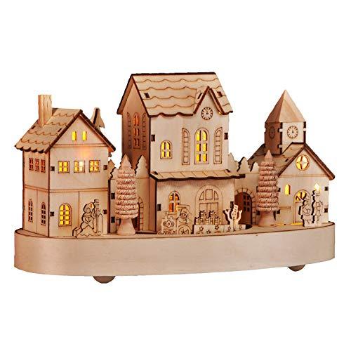 HI Beleuchtete Weihnachtsstadt ca. 28 cm Deko für Weihnachten LED Beleuchtung