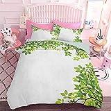 Hiiiman Home Textiles Juego de ropa de cama, hojas anchas, fondo de jardín orgánico, follaje y célula de plantas (3 piezas, tamaño king grande)