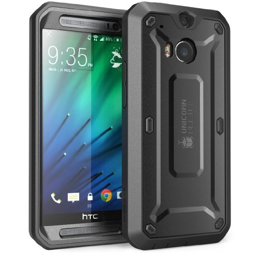 HTC One M8 Case, SUPCASE [Heavy Duty] HTC One M8 Case 2014 Release [Unicorn Beetle PRO Series] Full-body Rugged Hybrid Protective Case with Built-in Screen Protector (Black/Black), Dual Layer Design + Impact Resistant Bumper