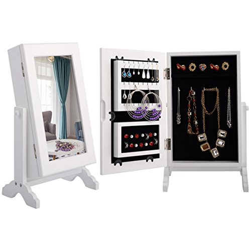 COSTWAY Jewellery Mirror Cabinet | Jewelry Stand | Armoire Box |Countertop Organizer, Ideal for Storage Rings, Earrings, Bracelets, Lightweight & Portable, Angle Adjustable, Premium Solid Wood