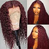 Imeya 99J HD Lace Front Wigs for Black Women 13x6 Deep Part Burgundy Loose Curly Human Hair Wig Pre Plucked Natural Hairline Wig Baby Hair 20 Inch Virgin Brazilian Hair Bleached Knots, 150% Density