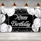 Happy Birthday Backdrop Banner Photography Background Black and Silver Happy Birthday Banner Large Birthday Party Sign Poster Photography Backdrop Party Decoration Supplies for Men and Women