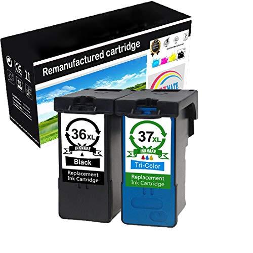 INKMAKE 2PK 36 37 Ersatz für Lexmark 36XL 37XL Tintenpatrone mit Hoher Kapazität Tintenfüllstand Anzeigen 18C2130 18C2140 für Lexmark Z2420 X3650 X4650 X6675 X5650 X5650es X6650 Z2400