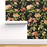 Spoonflower Pre-Pasted Removable Wallpaper, Floral Rose Flower Vintage Victorian Black English Print, Water-Activated Wallpaper, 24in x 108in Roll
