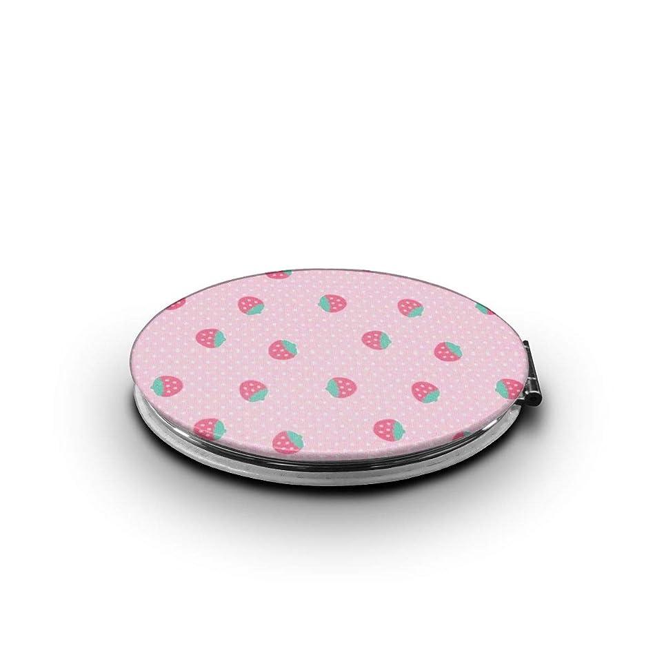 異常ドッククルーズ携帯ミラー ピンクの苺ミニ化粧鏡 化粧鏡 3倍拡大鏡+等倍鏡 両面化粧鏡 楕円形 携帯型 折り畳み式 コンパクト鏡 外出に 持ち運び便利 超軽量 おしゃれ 9.0X6.6CM