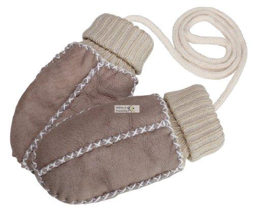 Eisbärchen Baby-Lammfell-Handschuhe / - Fäustel mit Strickbündchen, sand-beige