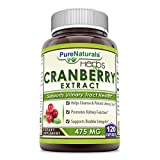Pure Naturals Cranberry Extract, 475 mg 120 Capsules - Promotes Kidney Function - Helps Clean & Protect Urinary Tract - Helps Maintain Bladder Integrity