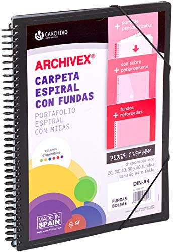 Carchivo- Carpeta personalizable de 50 fundas con espiral Archivex Star, color negro ⭐