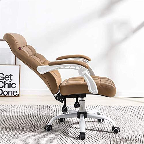 Silla tumbona Silla de la oficina de la oficina de la oficina Silla de la computadora Home Boss Recliner, silla blanca de juego, silla de oficina cómoda y silla giratoria sedentaria (Color: PU-Brown)