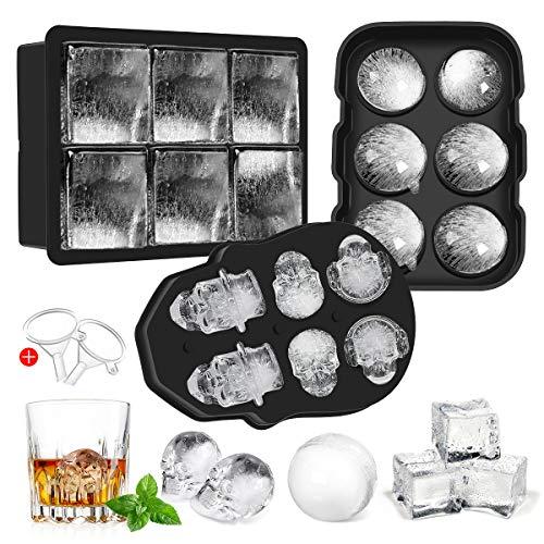 Aitsite Totenkopf Eiswürfelform Silikon, 3 Satz 3D Schädel Eiswürfel Lebensmittelqualität Flexibel Silikon für Whiskey Eis und Cocktails Saft Getränke