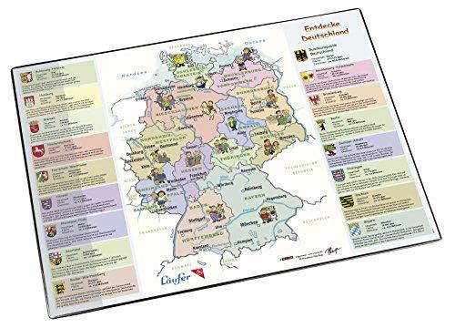 Läufer 45348 Landkaarten-bureauonderlegger Duitsland, antislip onderlegger met Duitse kaart, 40 x 53 cm, met transparant zijvak Ontdek Duitsland