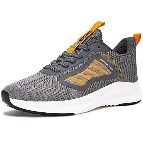 URDAR Zapatillas De Deporte Mujer Running Sneakers Antishock Zapatos de Deportivas CordonesTranspirables Ligeras Zapatillas Casual(Naranja,35 EU)