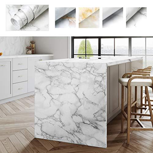 IMS Möbelaufkleber Klebefolie Mobelfolie 0.61 x 5M Marmor Tapete PVC Marmorfolie Aufkleber Selbstklebende Granit küchenschrank Folie Dekorfolie für Möbel Küche Kommode Schrank Verschleißfest (Type D)