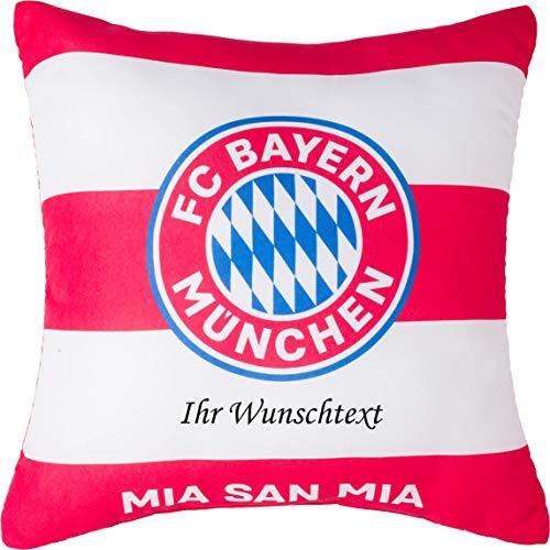 FC Bayern Kissen Rot/Weiß mit persönlichem Wunschtext in Ihrer Wunschfarbe