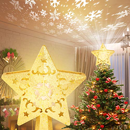 Ievamall Star Christmas Tree Toppers Decorations-Gold Glittered 5 Point Star with Rotating Snowflake Projector for Xmas Tree Decoration