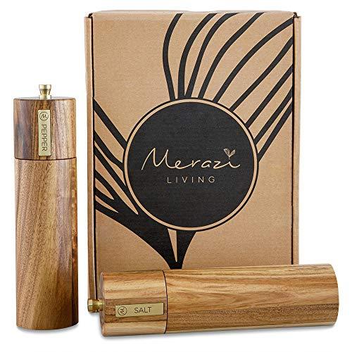 Wooden Salt and Pepper Grinder Set, Sustainable Acacia Wood, 8' - Elegant Sea Salt Grinder and Black...