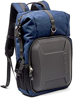 Evecase Shell DSLR Camera/15.6-inch Laptop Double Buckle Water Resistant Backpack Travel Daypack w/Rain Cover for Nikon Canon Fujifilm Sony Digital SLR, Mirrorless Camera and More (Blue)