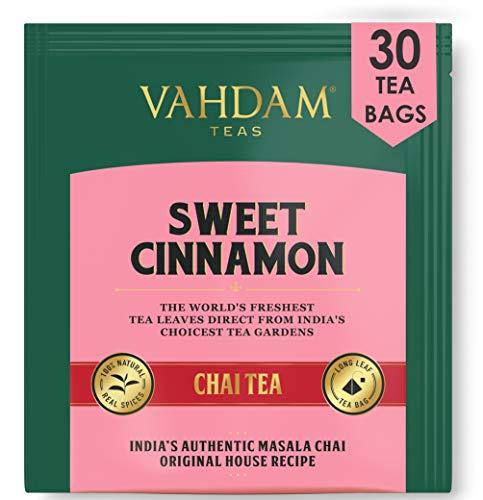 VAHDAM, té dulce de canela Masala Chai latte | 30 Bolsitas de té (juego de 2) | Especias 100% naturales | Receta de té de canela antigua | Preparar como té caliente o té helado | Bolsa de té chai