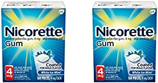 Nicorette Nicotine Gum to Quit Smoking, 4 mg, White Ice Mint Flavored Stop Smoking Aid, 160 Count (Pack of 2)