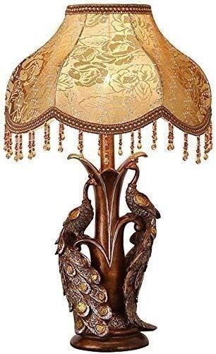 Zenghh Peacock Vintage, retro, lámpara de mesa, Mesa antigua europea lámpara creativa lámpara de cabecera y el interruptor de botón de luz de la noche de la sala dormitorio bombilla de iluminación dec