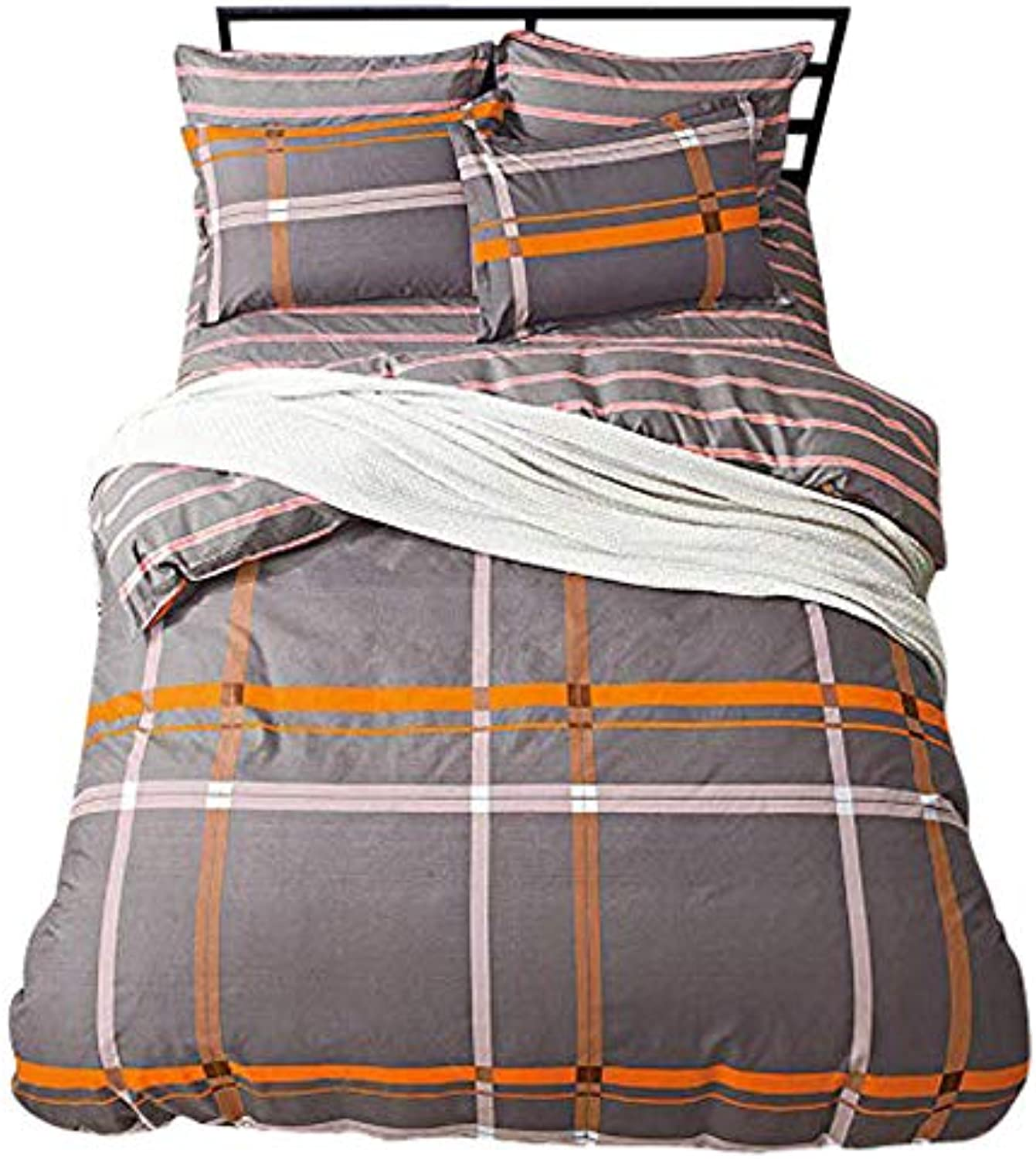 KFZ Bed Set Bedingset Duvet Cover Flat Sheet Pillowcase No Comforter Twin Full Queen Sheets Set MF Stripe Lattice Checker Plaid Design for Kids Teens Bed (Stripe East, Grey, Queen 78 x91 )