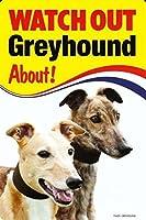WATCH OUT Greyhound 画像イラストサインボード:グレイハウンド 英語看板 イギリス製 Made in U.K [並行輸入品]