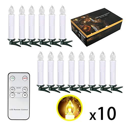 10/20/ 30/40 er Weinachten LED Kerzen Lichterkette Kerzen Weihnachtskerzen Weihnachtsbaum Kerzen mit Fernbedienung Kabellos (Beige, 10er)